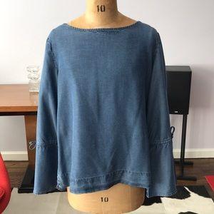 Ann Taylor Cotton Denim Bell Sleeved Blouse